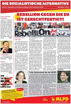 Rebellion gegen die EU ist gerechtfertigt - Wahlzeitung der MLPD erschienen