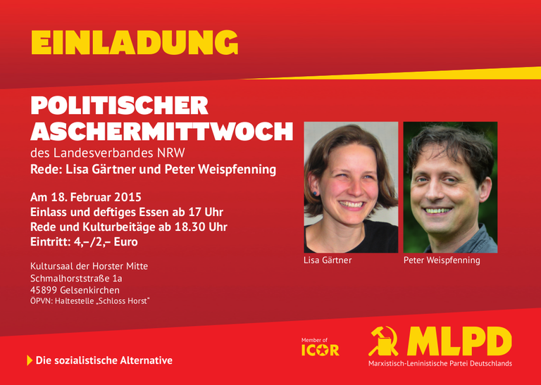 Politischer Aschermittwoch der MLPD: Ein Abend der spitzen Polemik am 18. Februar