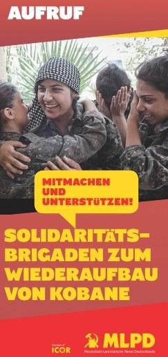 Flyer: Solidaritätsbrigaden zum Wiederaufbau von Kobane