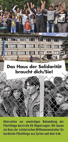 """Werbeflyer zum """"Haus der Solidarität"""": """"Das Haus der Solidarität braucht Dich/Sie!"""""""