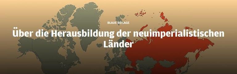 Blaue Beilage: Über die Herausbildung der neuimperialistischen Länder