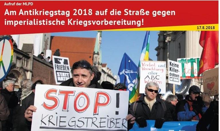 1. September: Am Antikriegstag 2018 auf die Straße gegen imperialistische Kriegsvorbereitung!