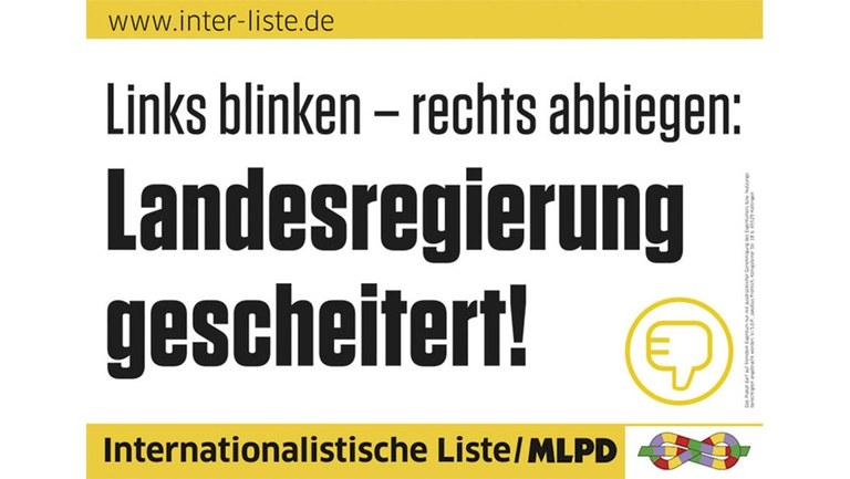 Links blinken - rechts abbiegen: Landesregierung gescheitert!