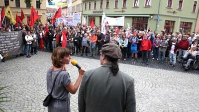 Protestdemonstration und Kundgebung in Weimar